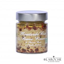 Savor & Sens, Moutarde bio aux baies rose et à l'huile d'olive, pot 130 g