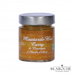 Savor & Sens, Moutarde bio au curry et à l'huile d'olive, pot 130 g