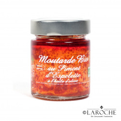 Savor & Sens, Moutarde bio au piment d'Espelette et à l'huile d'olive, pot 130 g