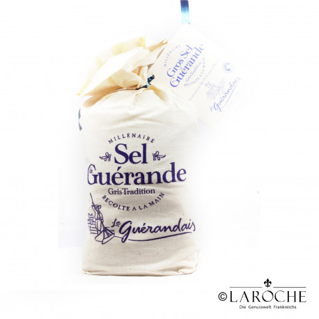 Le Gu?randais, Coarse gry sea salt from Gu?rande, Linenbag 750gr