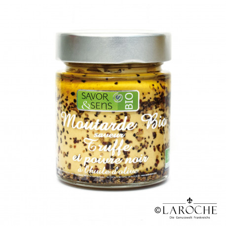 Savor & Sens, Organic Mustard with Olive Oil, truffle and black pepper, jar 130 g
