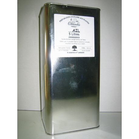 Les Oleiades, Olive oil flavoured with Garlic, 5 L, metalllic bottle
