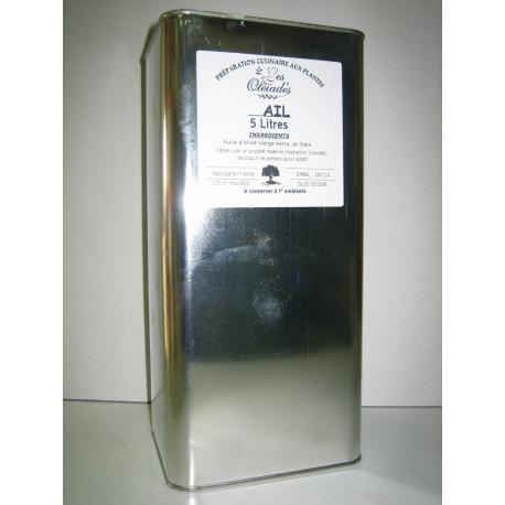 Les Oleiades, Oliven?l mit Knoblauch aromatisiert, 5 L, Metalflasche