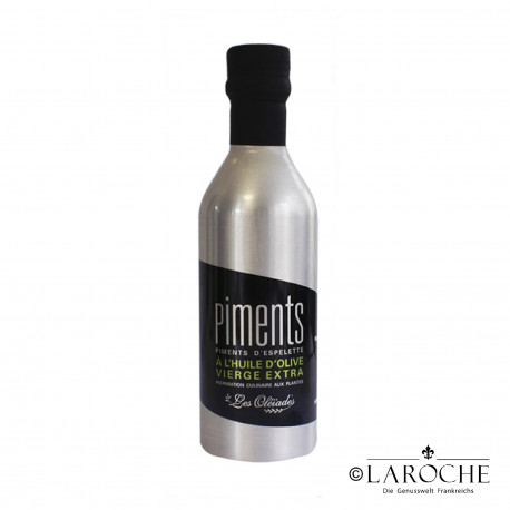 Les Oleiades, Olive oil flavoured with Espelette Chili, 33 cl, metalllic bottle