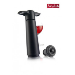Black vacuum pump with wine stoppers, VacuVin